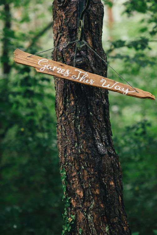 Wooden Wedding Sign | DIY Woodland Wedding in South Wales | Cat Beardsley Photography