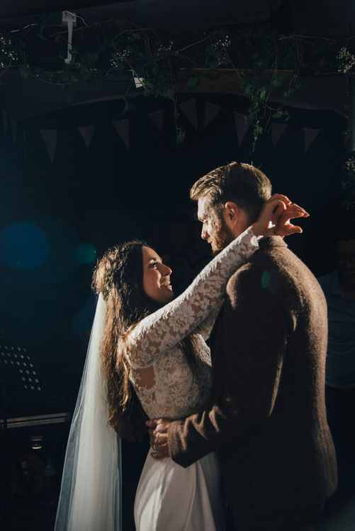 First Dance | Bride in Suzanne Neville Scarlet Gown | Groom in Harris Tweed Suit | DIY Woodland Wedding in South Wales | Cat Beardsley Photography