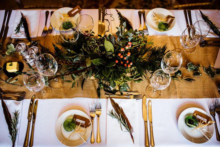 Boho Wedding Place Setting With Feathers & Foliage