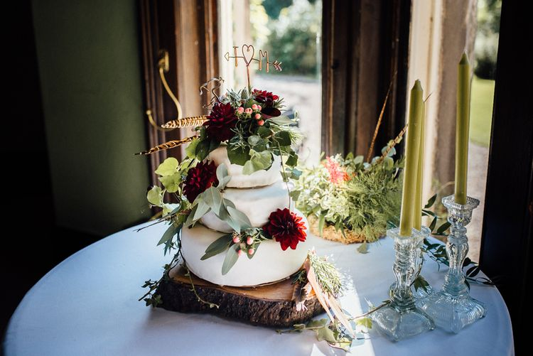 Rustic Wedding Cake with Feathers & Foliage