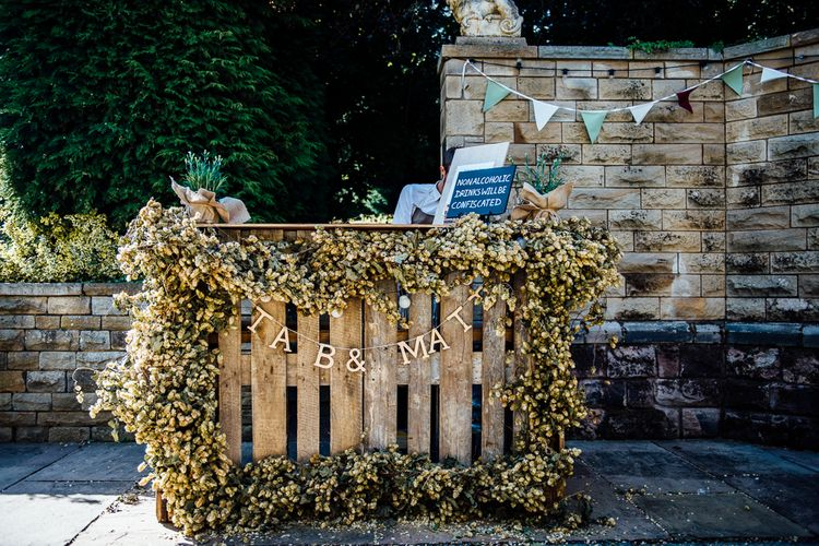 Wedding Bar Made From Wooden Palettes & Hops