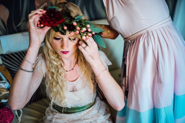 Bride With Woodland Fairy Style Flower Crown