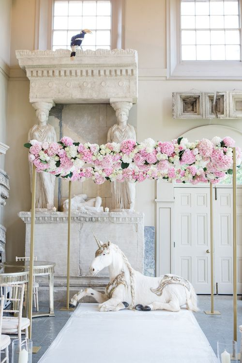 Pink & White Floral Hydrangea Altar | Elegant Wedding at Aynhoe Park, Oxfordshire | Lucy Davenport Photography