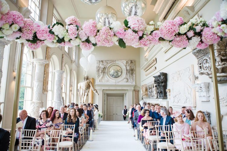 Pink & White Hydrangea Altar Floral Arch | Elegant Wedding at Aynhoe Park, Oxfordshire | Lucy Davenport Photography