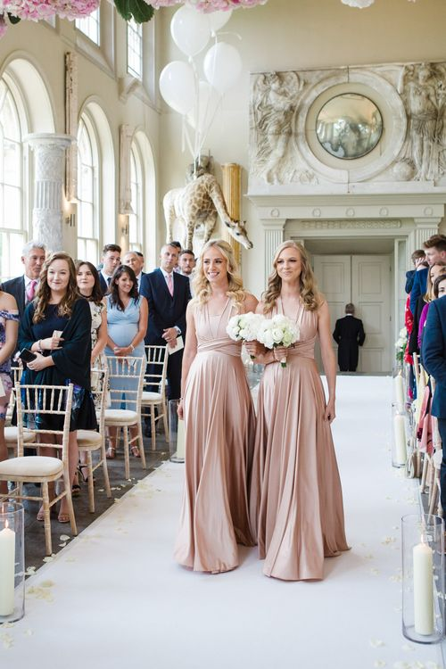 Bridesmaids in Rosewater Twobirds Multiway Dresses | Elegant Wedding at Aynhoe Park, Oxfordshire | Lucy Davenport Photography
