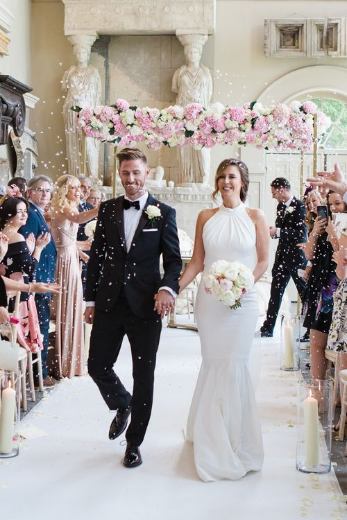 Bride in Suzanne Neville Belle Gown | Groom in DKNY Black Tie Suit from Moss Bros. | Elegant Wedding at Aynhoe Park, Oxfordshire | Lucy Davenport Photography