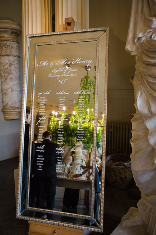 Etched Mirror Table Plan | Elegant Wedding at Aynhoe Park, Oxfordshire | Lucy Davenport Photography