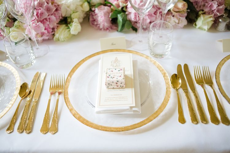 Gold Cutlery from Duchess & Butler | Elegant Wedding at Aynhoe Park, Oxfordshire | Lucy Davenport Photography