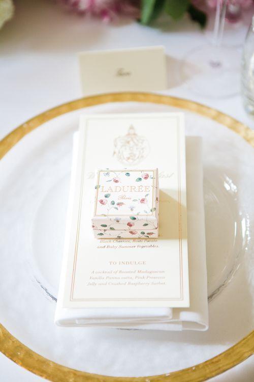 Laduree Wedding Favour | Elegant Wedding at Aynhoe Park, Oxfordshire | Lucy Davenport Photography
