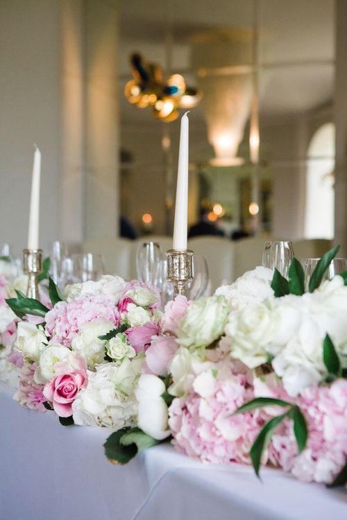 Pink & White Top Table Wedding Flowers including Hydrangeas, Roses & Peonies | Elegant Wedding at Aynhoe Park, Oxfordshire | Lucy Davenport Photography