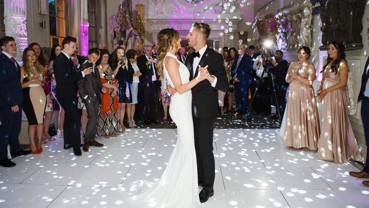 First Dance | Bride in Suzanne Neville Belle Gown | Groom in DKNY Black Tie Suit from Moss Bros. | Elegant Wedding at Aynhoe Park, Oxfordshire | Lucy Davenport Photography