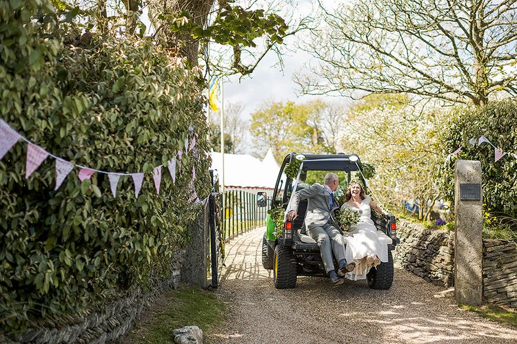 Bride & Groom In Tractor For Wedding Day