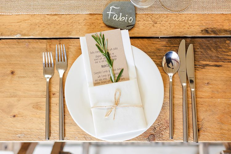 Rustic Place Setting For Marquee Wedding