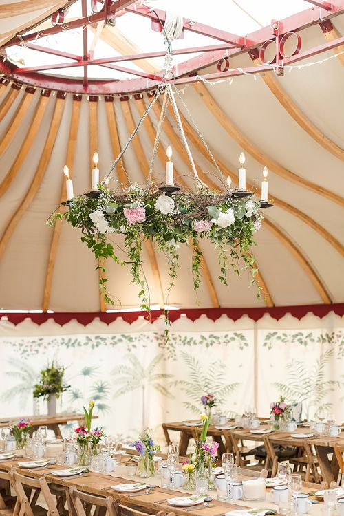 Marquee Wedding With Floral Chandelier