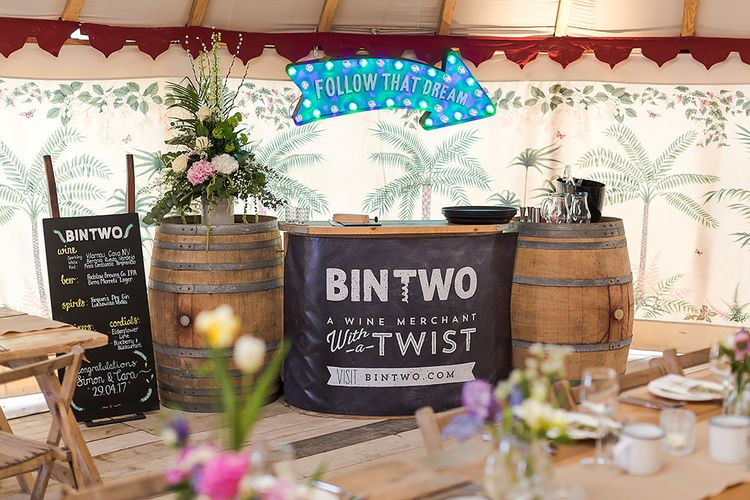 Rustic Bar Set Up For Wedding By Bin Two