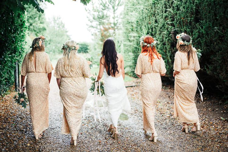 Bride in Backless Katie May Gown | Bridesmaids in Peach Sequin ASOS Dresses | Sung Blue Photography | ROOST Film Co.