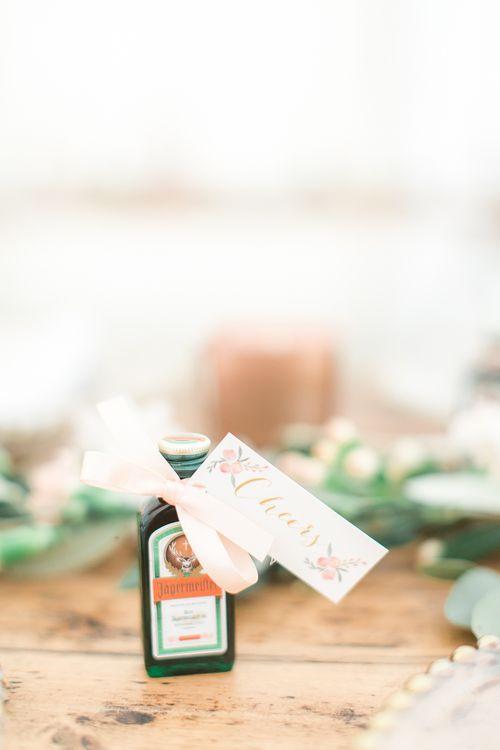 Miniature Jägermeister Wedding Favours | Sung Blue Photography | ROOST Film Co.
