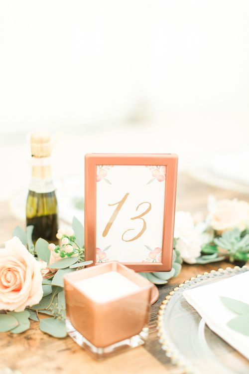Copper Table Number Framers | Sung Blue Photography | ROOST Film Co.