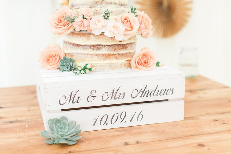 Personalised Rustic Crate Wedding Cake Stand | Sung Blue Photography | ROOST Film Co.