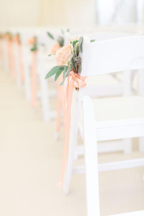 Peach & Eucalyptus Aisle Chair Back Decor | Sung Blue Photography | ROOST Film Co.