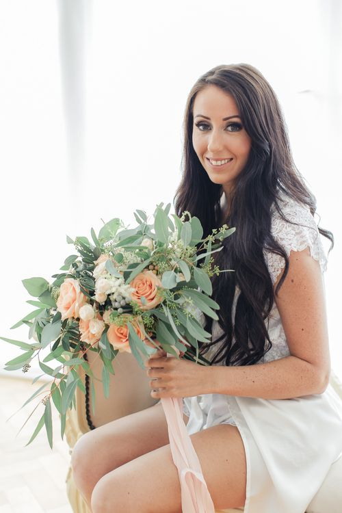 Bride in White Dress Gown | Peach & Eucalyptus Bridal Bouquet | Sung Blue Photography | ROOST Film Co.