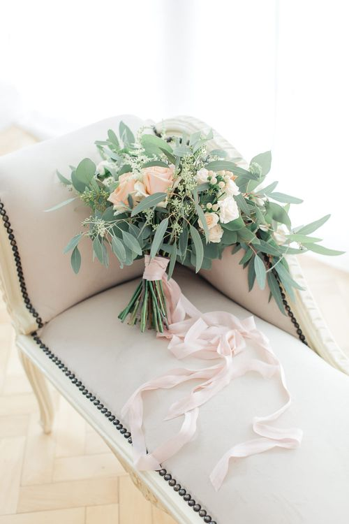 Peach & Eucalyptus Bridal Bouquet | Sung Blue Photography | ROOST Film Co.