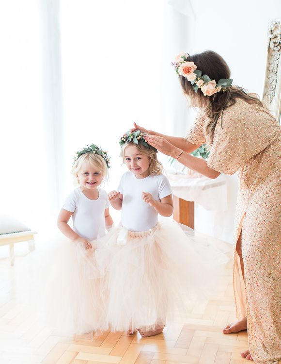 Flower Girls in Peach Tulle Skirts | Bridesmaid in Peach Sequin ASOS Dress | Sung Blue Photography | ROOST Film Co.