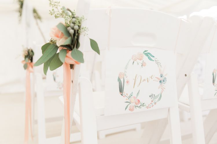 Chair Back Decor | Elegant Peach, Copper & Rose Gold At Home Marquee Reception | Sung Blue Photography | ROOST Film Co.