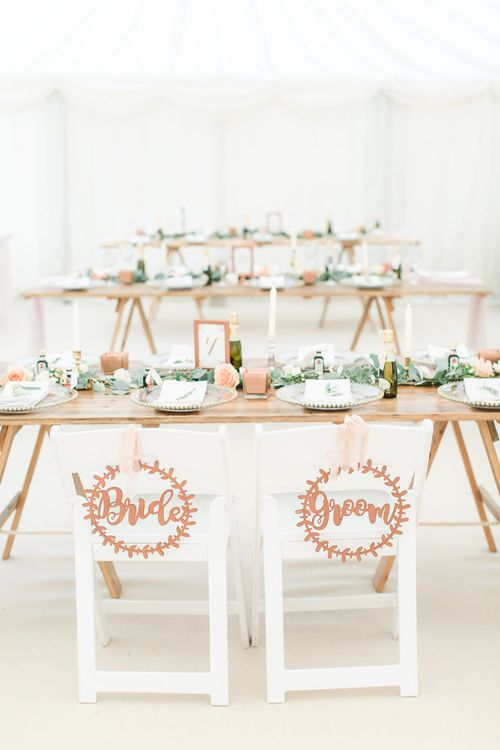 Copper Lasercut Bride & Groom Chair Back Signs | Elegant Peach, Copper & Rose Gold At Home Marquee Reception | Sung Blue Photography | ROOST Film Co.