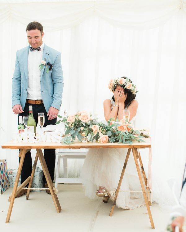 Sweetheart Table | Bride in Lace & Tulle Pronovias Gown | Groom in Zara Blazer & Topman Trousers | Sung Blue Photography | ROOST Film Co.