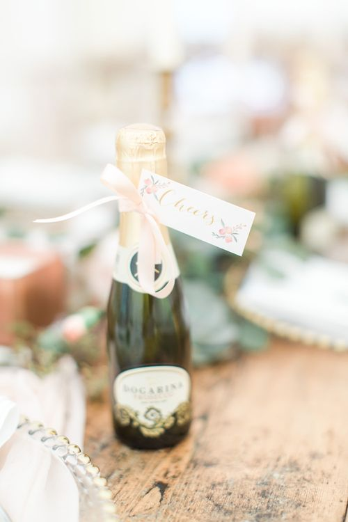 Miniature Prosecco Wedding Favours | Elegant Peach, Copper & Rose Gold At Home Marquee Reception | Sung Blue Photography | ROOST Film Co.