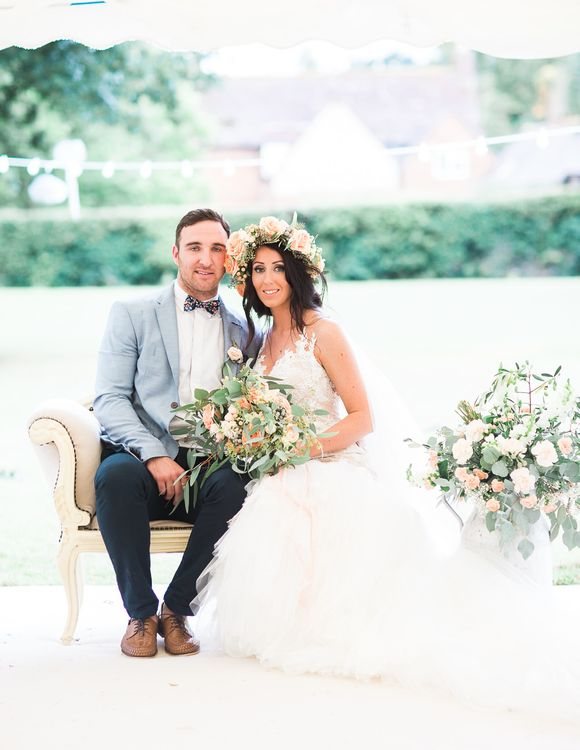 Bride in Lace & Tulle Pronovias Gown | Groom in Zara Blazer & Topman Trousers | Sung Blue Photography | ROOST Film Co.