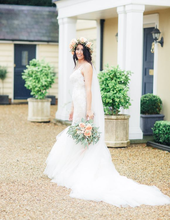 Bride in Lace & Tulle Pronovias Gown | Sung Blue Photography | ROOST Film Co.