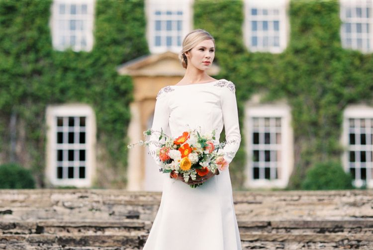 Wedding Dress | Elegant Wedding Inspiration at Cornwell Manor with Floral Design by Bramble and Wild | Bowtie & Belle Photography | Carmencita Film Lab | Baxter and Ted Films