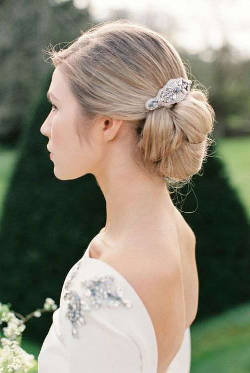 Bridal Up do with Headpiece | Bowtie & Belle Photography | Carmencita Film Lab | Baxter and Ted Films