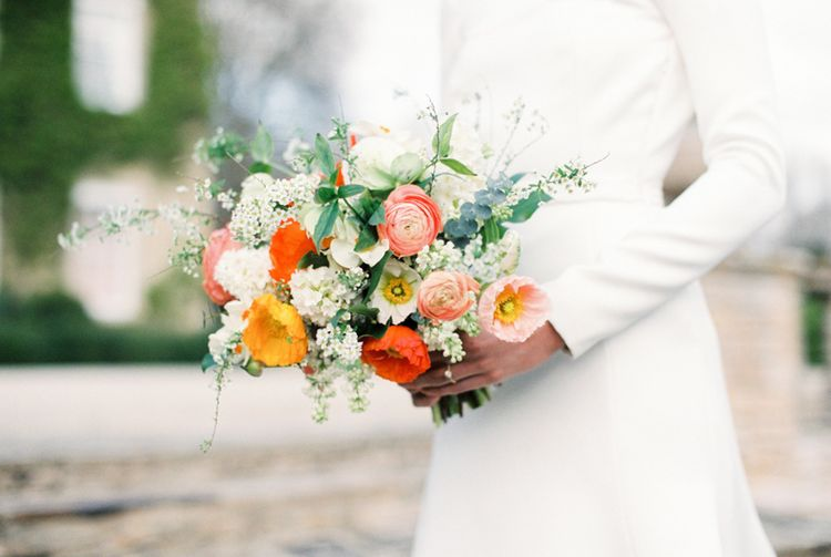 Coral Wedding Bouquet | Elegant Wedding Inspiration at Cornwell Manor with Floral Design by Bramble and Wild | Bowtie & Belle Photography | Carmencita Film Lab | Baxter and Ted Films