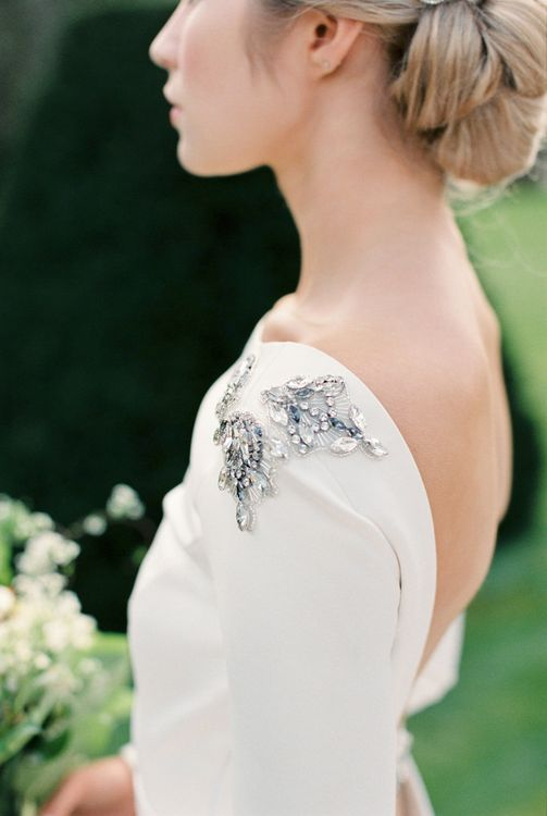 Embellished Bridal Gown | Bowtie & Belle Photography | Carmencita Film Lab | Baxter and Ted Films