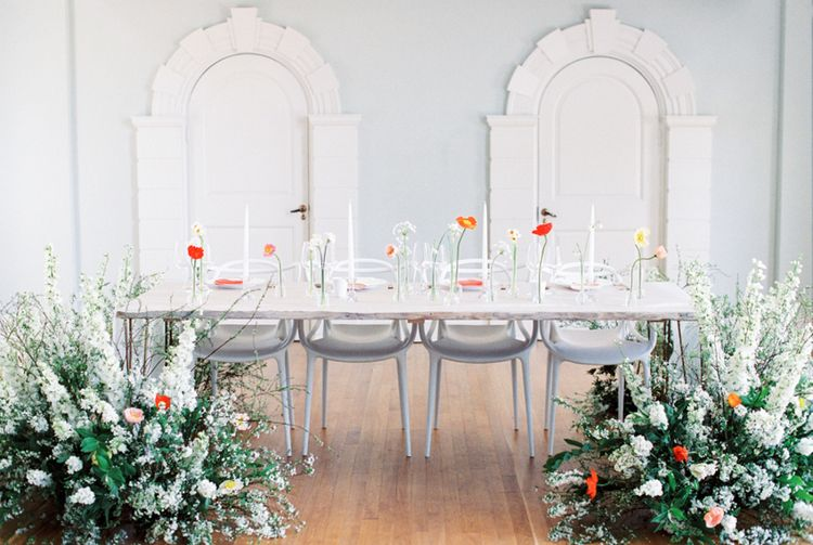 Table Scape | Elegant Wedding Inspiration at Cornwell Manor with Floral Design by Bramble and Wild | Bowtie & Belle Photography | Carmencita Film Lab | Baxter and Ted Films