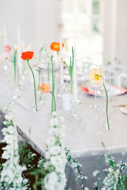 Flower Stems in Jars | Elegant Wedding Inspiration at Cornwell Manor with Floral Design by Bramble and Wild | Bowtie & Belle Photography | Carmencita Film Lab | Baxter and Ted Films
