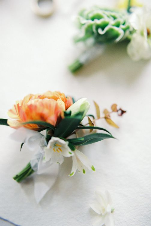 Buttonholes | Elegant Wedding Inspiration at Cornwell Manor with Floral Design by Bramble and Wild | Bowtie & Belle Photography | Carmencita Film Lab | Baxter and Ted Films