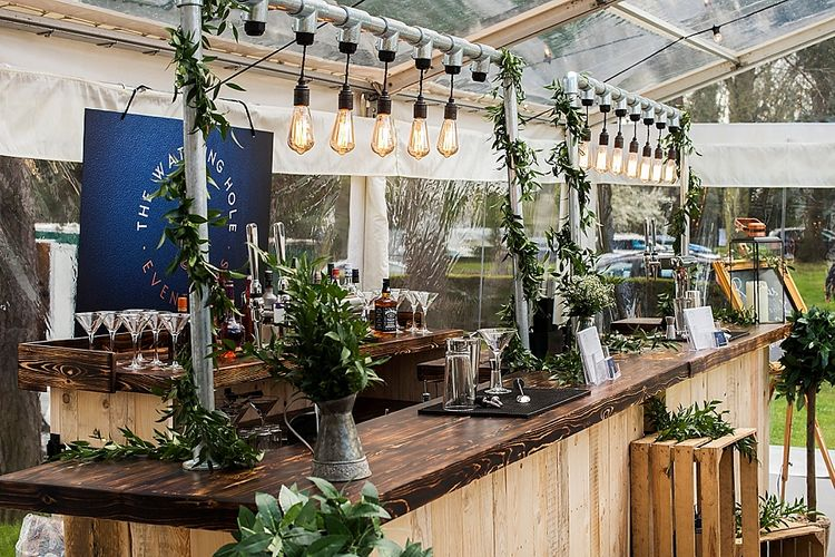 Wooden Bar With Edison Bulbs From The Watering Hole Event Bars