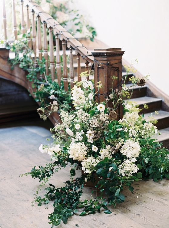 Floral Staircase Installation By The Garden Gate Flower Company