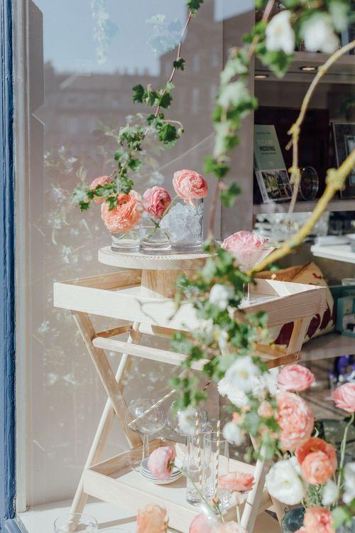 Floral Window Display By Pyrus Botancial // The Wedding Shop Showroom In Edinburgh // Gift List For Weddings Scotland // Wedding Gift List Provider With Showroom // The Best Wedding Gift List