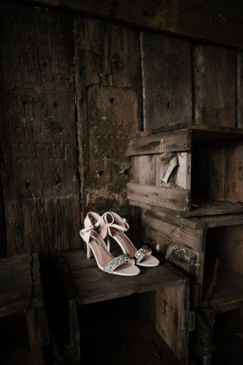 Details | Wedding Shoes | Owen House Wedding Barn | Joyce Young London | Damian Brandon