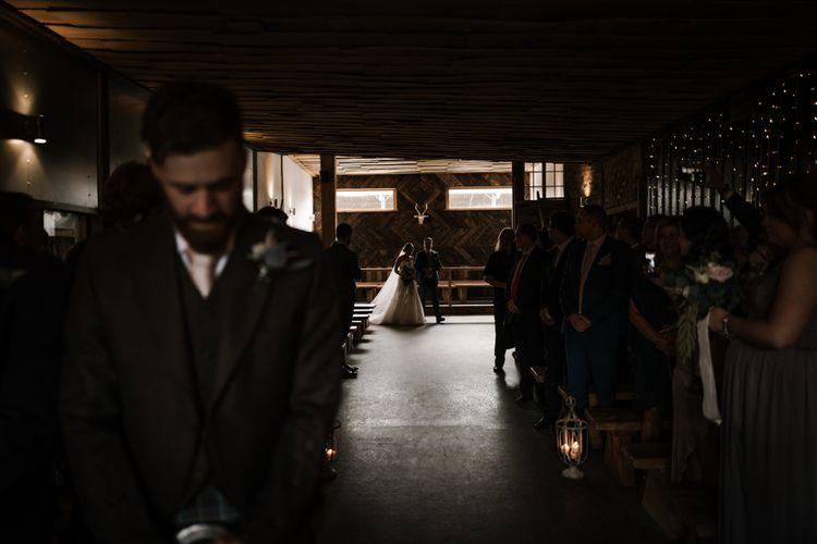 Here she comes! | Owen House Wedding Barn | Joyce Young London | Damian Brandon