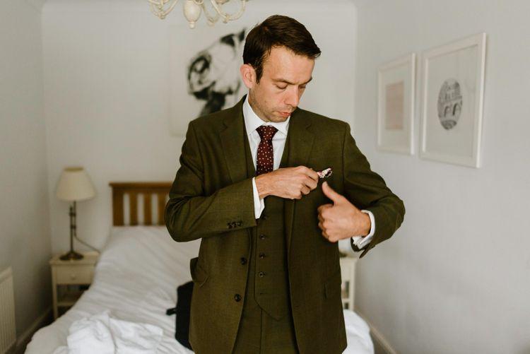 Groom in Tweed Hugo Morris Suit | Outdoor Ceremony & Rustic Barn Reception at Pennard House Somerset | John Barwood Photography