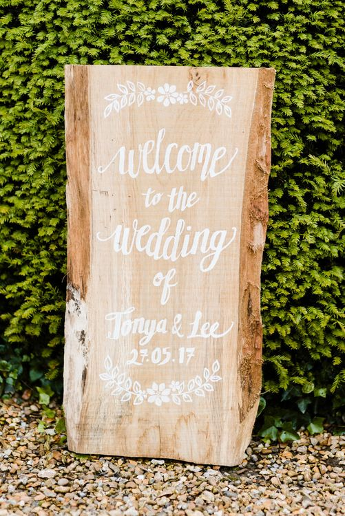 Wooden Wedding Welcome Sign | Outdoor Ceremony & Rustic Barn Reception at Pennard House Somerset | John Barwood Photography
