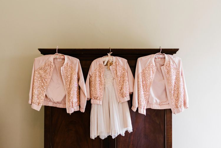 Blush Pink Sequin Jackets | Outdoor Ceremony & Rustic Barn Reception at Pennard House Somerset | John Barwood Photography