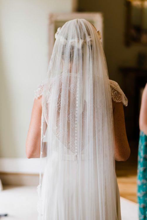 Britten Wedding Veil | Outdoor Ceremony & Rustic Barn Reception at Pennard House Somerset | John Barwood Photography