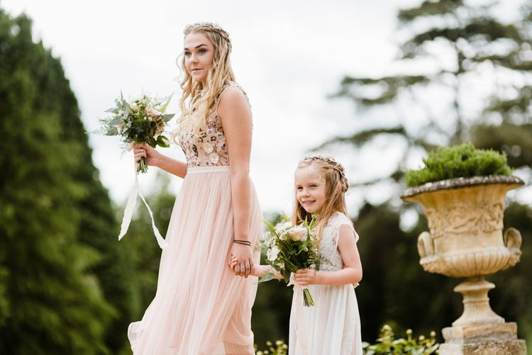 Bridesmaid in Blue needle & Thread Dress & Flower Girl in Monsoon | Outdoor Ceremony & Rustic Barn Reception at Pennard House Somerset | John Barwood Photography